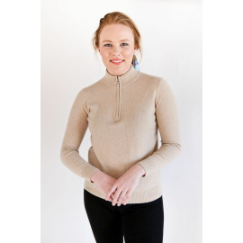 Beige Zip-Neck Jersey
