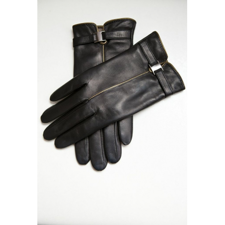 Black Leather Gloves With Buckle Detail