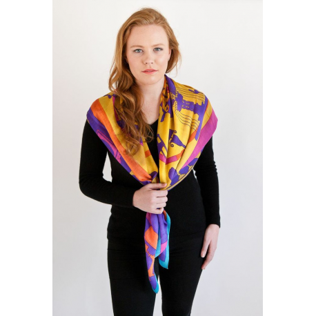 Large Woollen Orange, Purple and Yellow Scarf