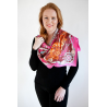 Cerise Nautical-Themed, Large Silk Scarf
