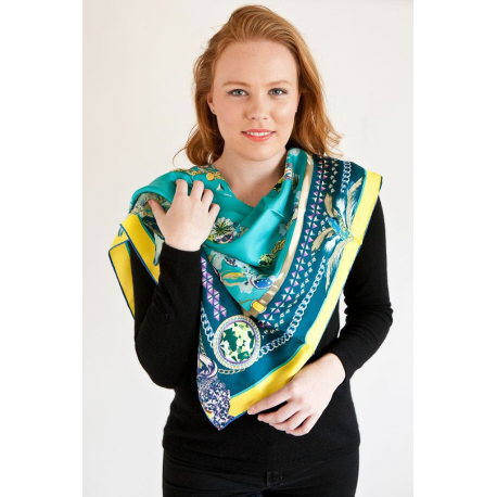 Yellow and Turquoise Medium Square Silk Scarf