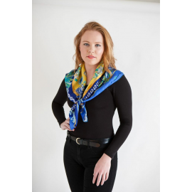 Royal Blue and Yellow Medium Silk Scarf