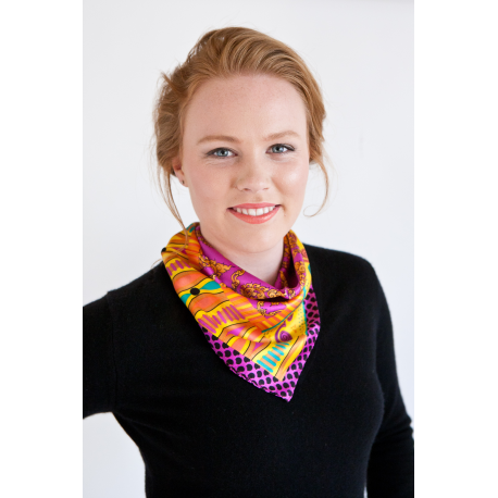 Bright Pink and and Orange Small Silk Scarf